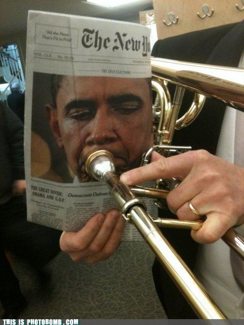 horn,obama,paper,photobomb,probably not technically a photobomb but this makes me lol