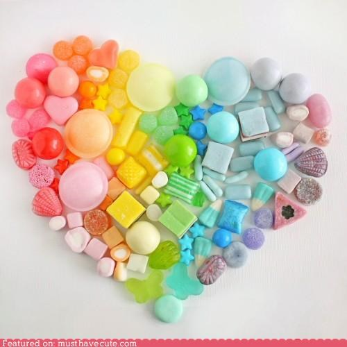 candy colorful epicute heart rainbow