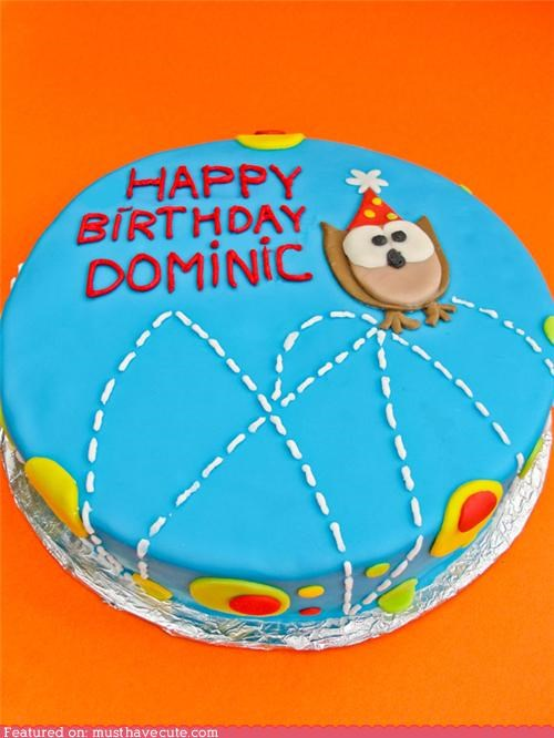 birthday blue bounce cake epicute fondant Owl - 4437758464