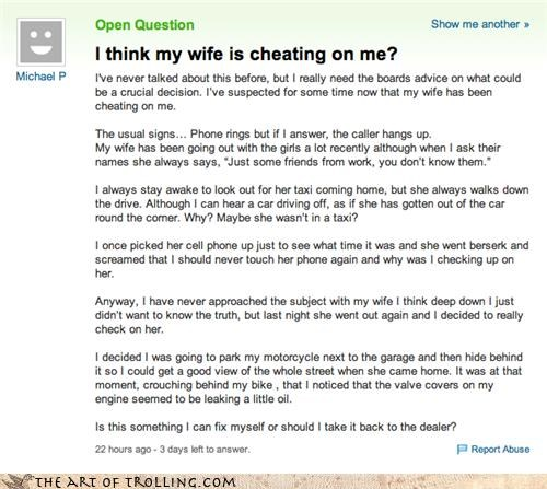 cheating oil oldsauce-problem signs wife Yahoo Answer Fails - 4437797632