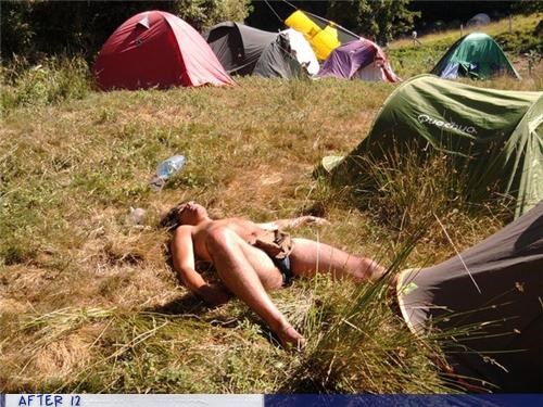 au natural,camp,passed out,tent