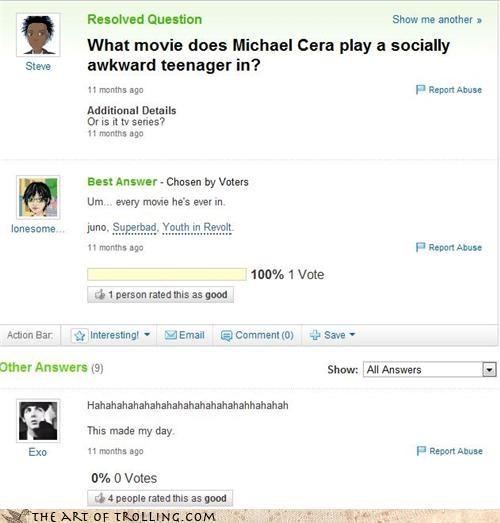 Awkward celeb jesse eisenberg michael cera Yahoo Answer Fails - 4438460416