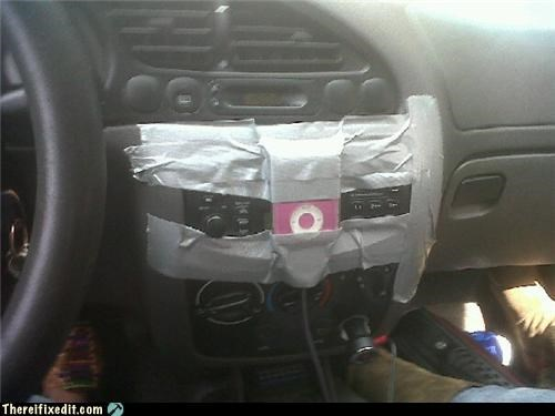 apple products,cars,driving,duct tape,ipod