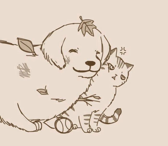 friendship dogs unexpected illustration Cats web comics - 4439045