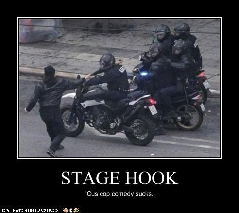 assault,attack,comedy,hook,motorcycles,movies,police,umbrella