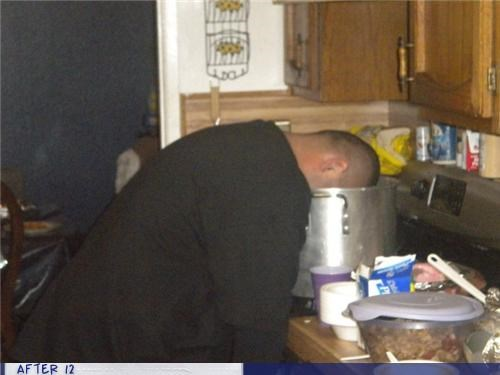 kitchen,passed out,soup,uncomfortable
