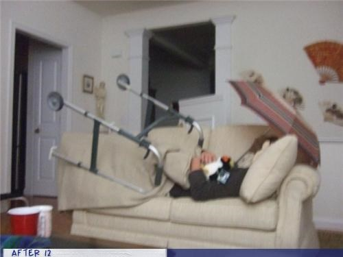 couch,passed out,stacking,umbrella,walker
