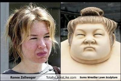 actress fat frown renee zellweger statue sumo sumo wrestler unhappy - 4439785216