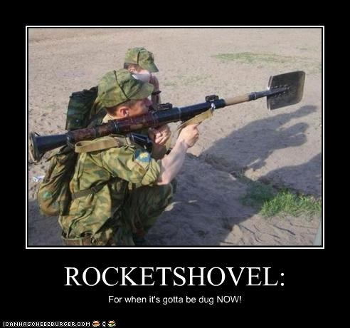 dig military rockets rocketshovel soldiers weapons wtf