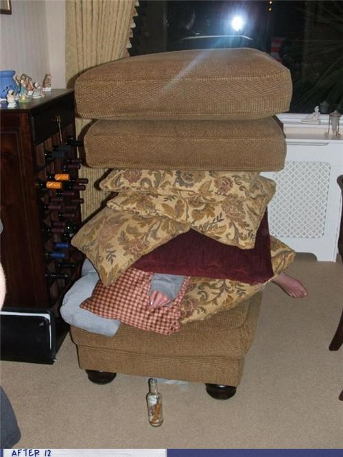 cushion,passed out,Pillow,stacking