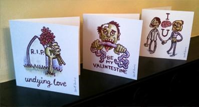 Fan Art nerd love valentine card Valentines day zombie