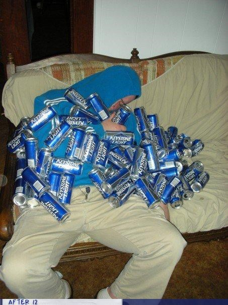 beer,keystone light,passed out,stacking