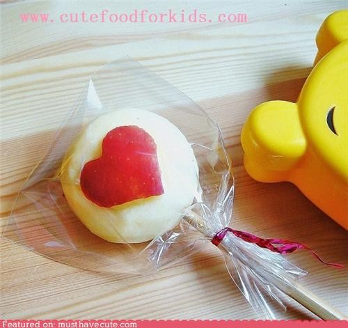 apple carved epicute heart lollipop snack stick