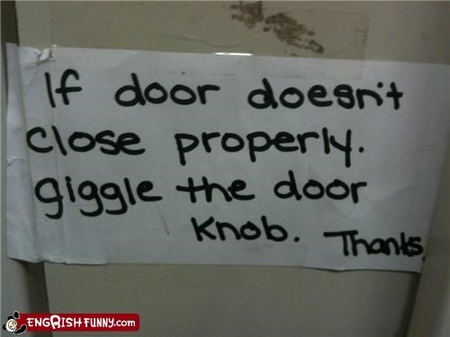 door,giggle,notice,sign