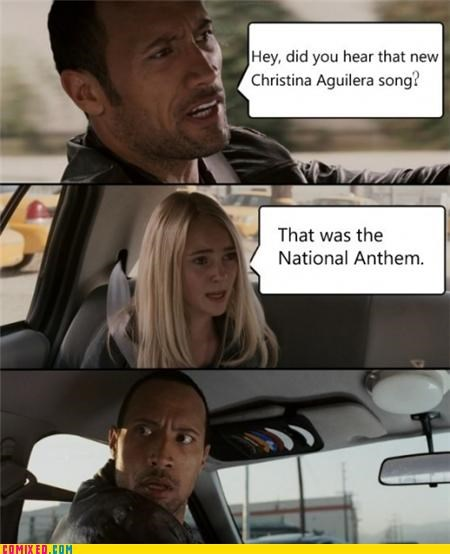 christina aguilera,history,national anthem,race to witch mountain,super bowl,the rock