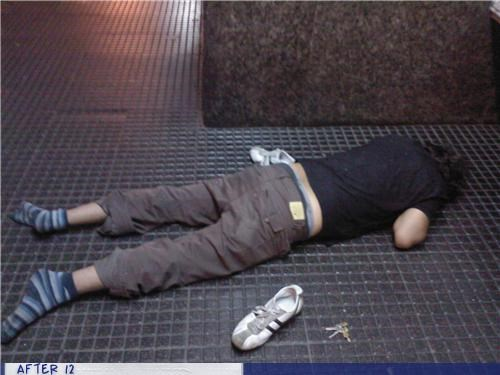 outdoors,passed out,shoes,sidewalk