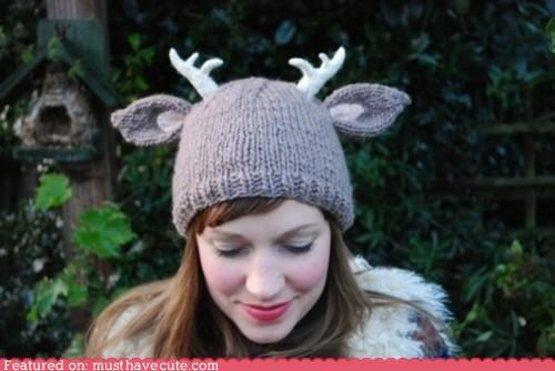 antlers deer ears hat knit pattern - 4441250560