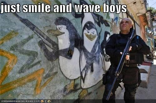 graffiti,guns,madagascar,movie reference,penguins,police