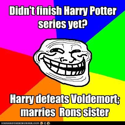 Didn't finish Harry Potter series yet? Harry defeats Voldemort; marries Rons sister