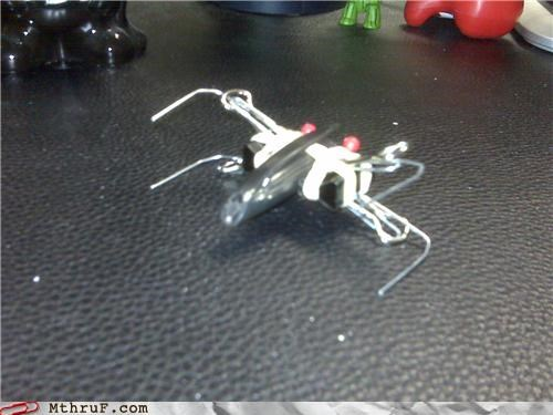 awesome,creative,paperclips,pen,star wars,x wing