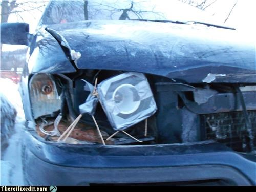 cars driving duct tape headlights