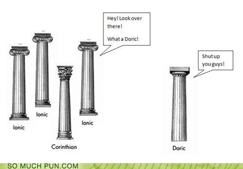 ancient greek,architecture,column,doric,dork,greece,greek,insult,similar sounding,structure,support,teasing