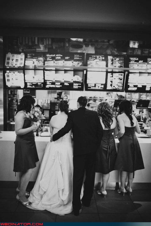 back fat,black and white,bride,bride with back fat,eww,fashion is my passion,funny wedding photos,groom,McDonald's,mcdonalds-on-your-wedding-day,mcdonalds-wedding-day-trend,mcdonalds-wedding-pit-stop,mcdonalds-wedding-stop,News and Trends,were-in-love
