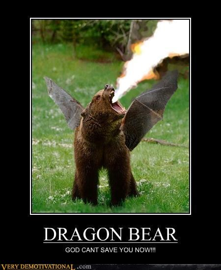 bear,dragon,flames,photoshop