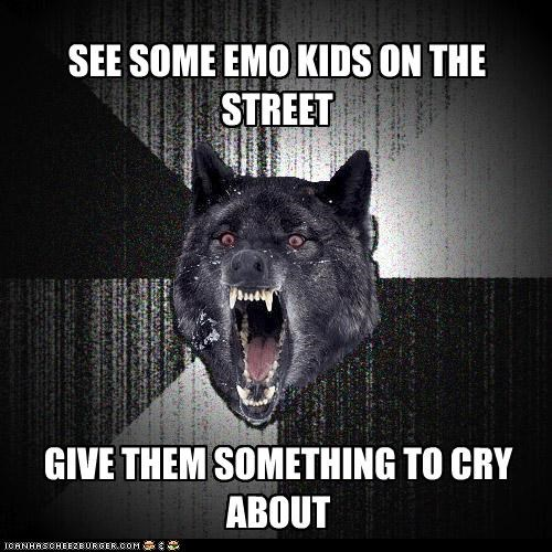 cry,emo kids,give them something to cry about,Insanity Wolf
