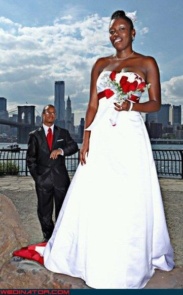 bride,bridezilla,bridezilla takes manhattan,Crazy Brides,fashion is my passion,funny bridezilla picture,funny wedding photos,funny wedding portrait,giant bride,groom,groom pretends to check his watch,surprise,technical difficulties,were-in-love,wedding photo perspective,weird wedding portrait,wtf