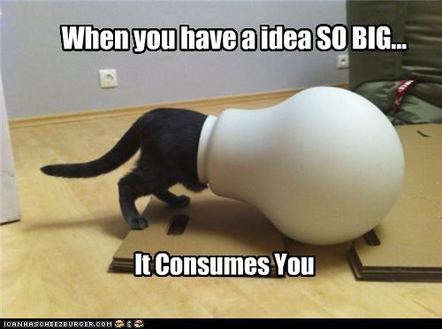 big caption captioned cat consumed consumes idea lightbulb pot shape stuck