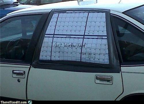 car window duct tape paper fix wtf - 4444318208