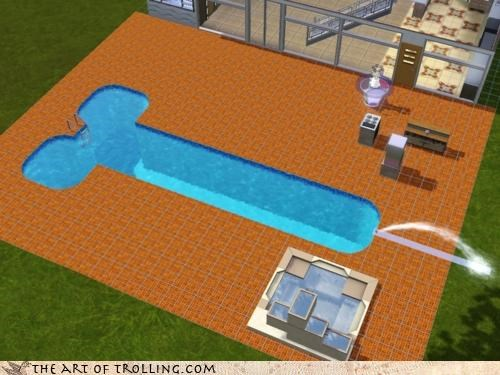nice one bro,penis,swimming pool,The Sims,video games