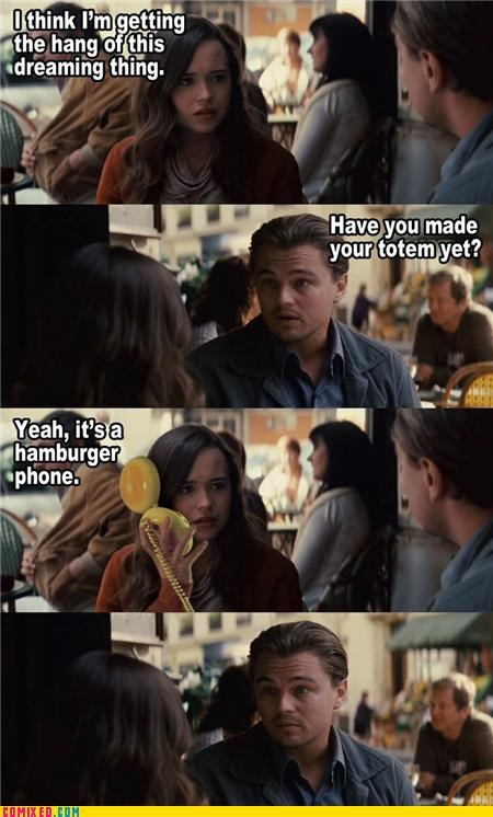 classic ellen page From the Movies hamburger phone Inception juno leonardo dicaprio totem