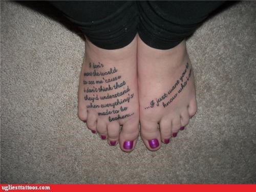 text tattoos foot tattoos funny - 4444995840