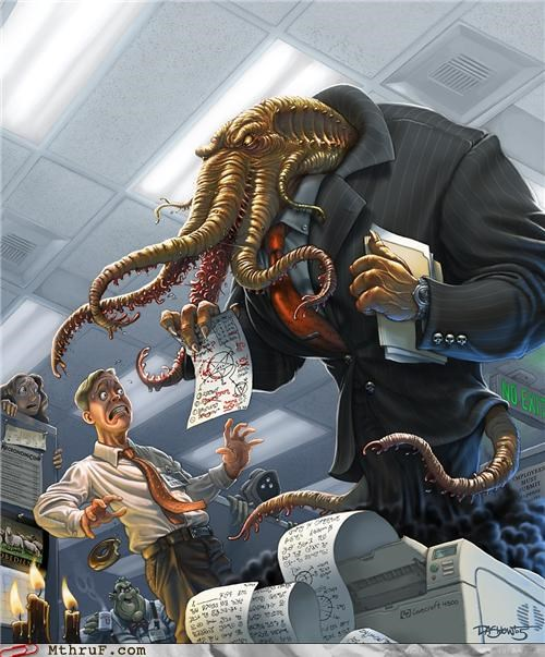 awesome,cthulhu,dark forces,Office,painting,tentacles