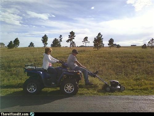 atv dual use lawnmower teamwork