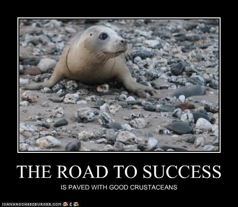 adage caption captioned crustaceans good intentions paved pun quote road seal success - 4446249472