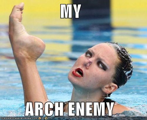 arch enemy foot puns Sportderps swimmer