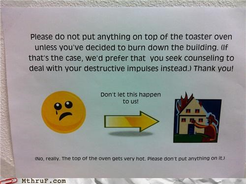 fire,Office Space,sign,toaster