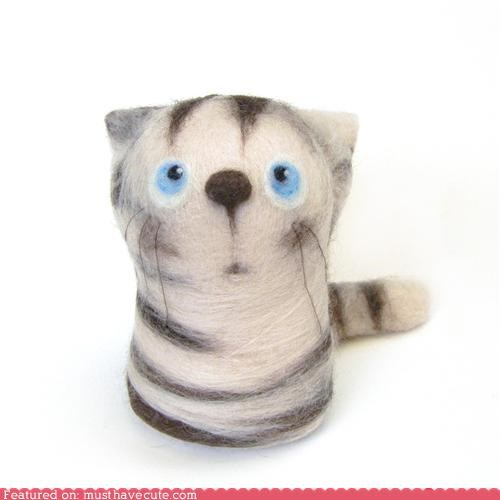 cat felted felted wool kitty toy wool