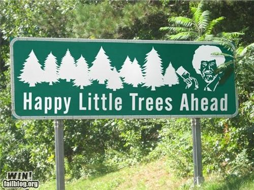 bob ross,celeb,photoshop,road signs