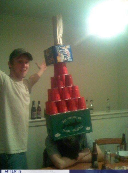 dogfish head,passed out,pyramid,red cups,stacking