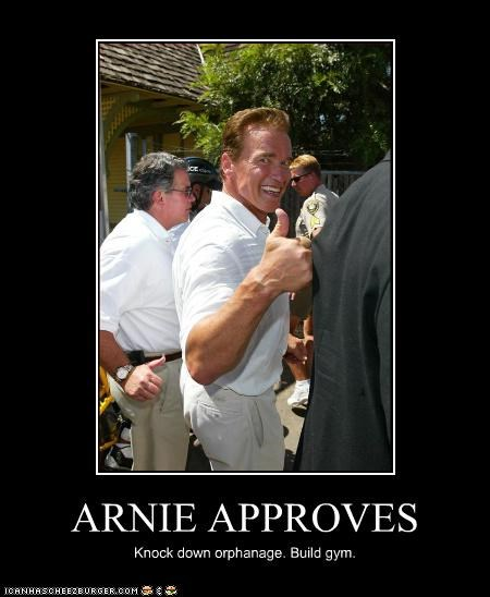 Arnold Schwarzenegger,california,destruction,gym,orphanage,tan,thumbs up