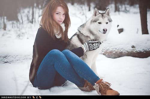 color fashion human i has malamute matching mittens posed posing style themed goggie week woman - 4448273152