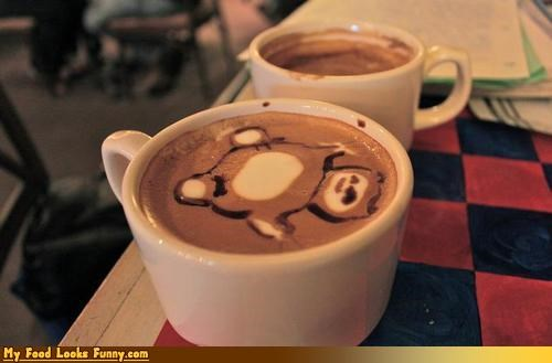 anime,cappuccino,cappuccino foam art,coffee,drink,foam,snorlax