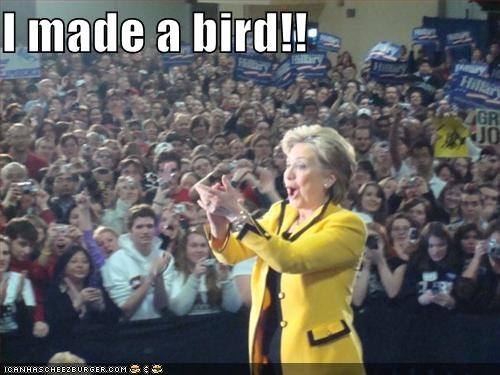 applause,bird,childish,clapping,hand puppets,Hillary Clinton,secretary of state,silly