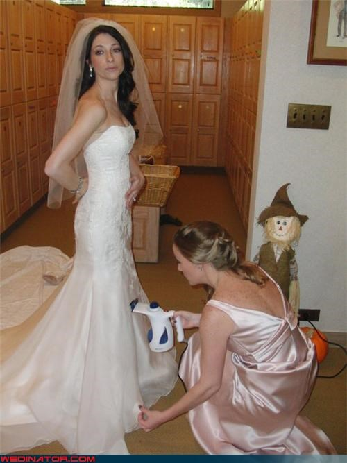 bride,bride sucking in,bride without a brain,bridesmaid,Crazy Brides,fashion is my passion,funny bride picture,funny wedding photos,random scarecrow,technical difficulties,true bridesmaid