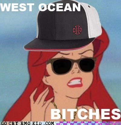 ariel,hat,hipster,little mermaid,ocean,seaside,west