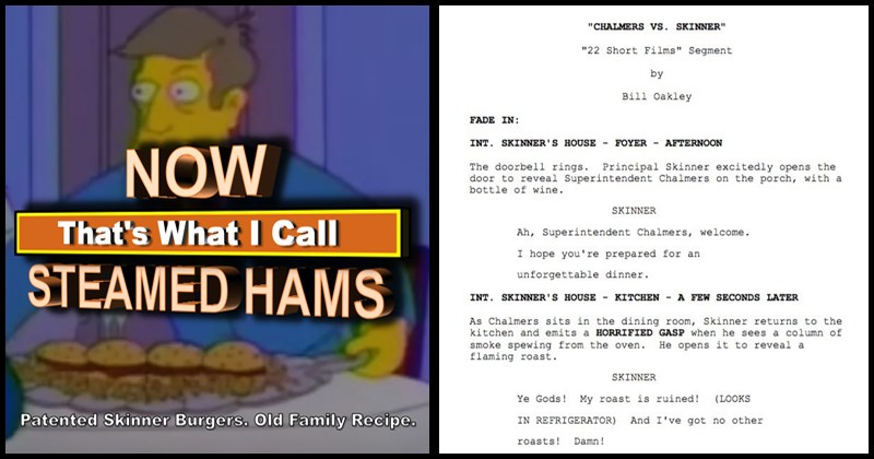 Funny original script for the simpsons steamed hams scene, principal skinner, superintendant chalmers.